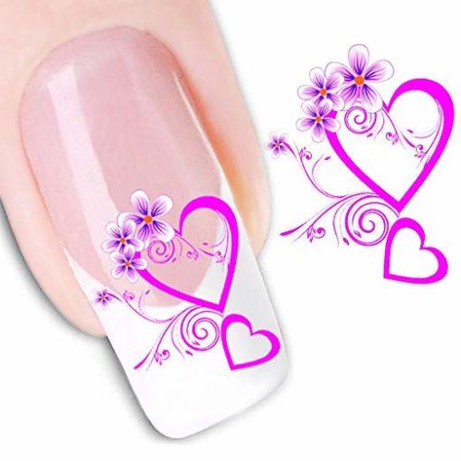 Water decal roze hartjes bloem
